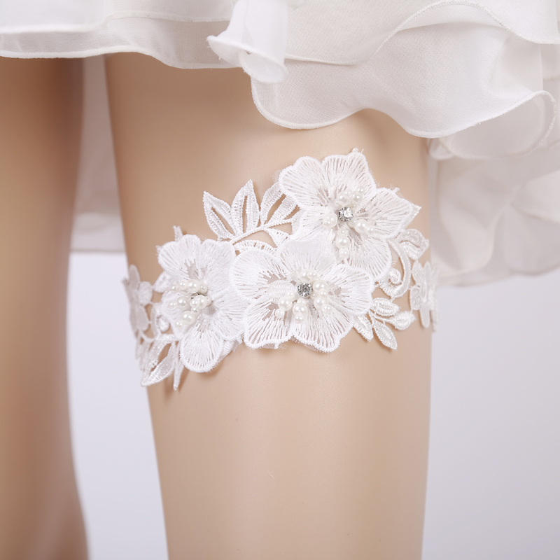 2018 Wedding Garter Rhinestone Embroidery Flower Beading White Sexy Garters For Women/Female/Bride Thigh Ring Bridal Leg Garter(China)