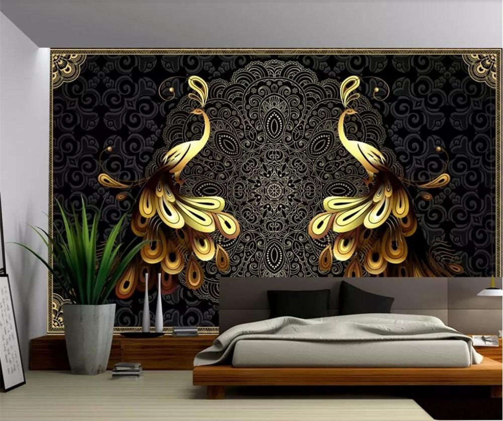 Beibehang Custom Large Wallpaper 3d Mural Luxury European Black