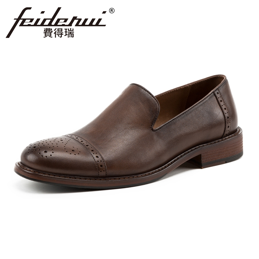 Vintage Genuine Leather Breathable Men's Loafers Round Toe Slip on Height Increasing Handmade Man Casual Brogue Shoes KUD124 high end breathable men casual shoes loafers genuine leather lace up rubber handmade slip on sewing lazy shoes italian designer