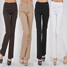 купить Womens Black White Brown Khaki Formal Flare Pants Women Bell Bottom Trousers Plus Size 4XL Lycra Calca Office  Wear Flared Pants по цене 1931.14 рублей