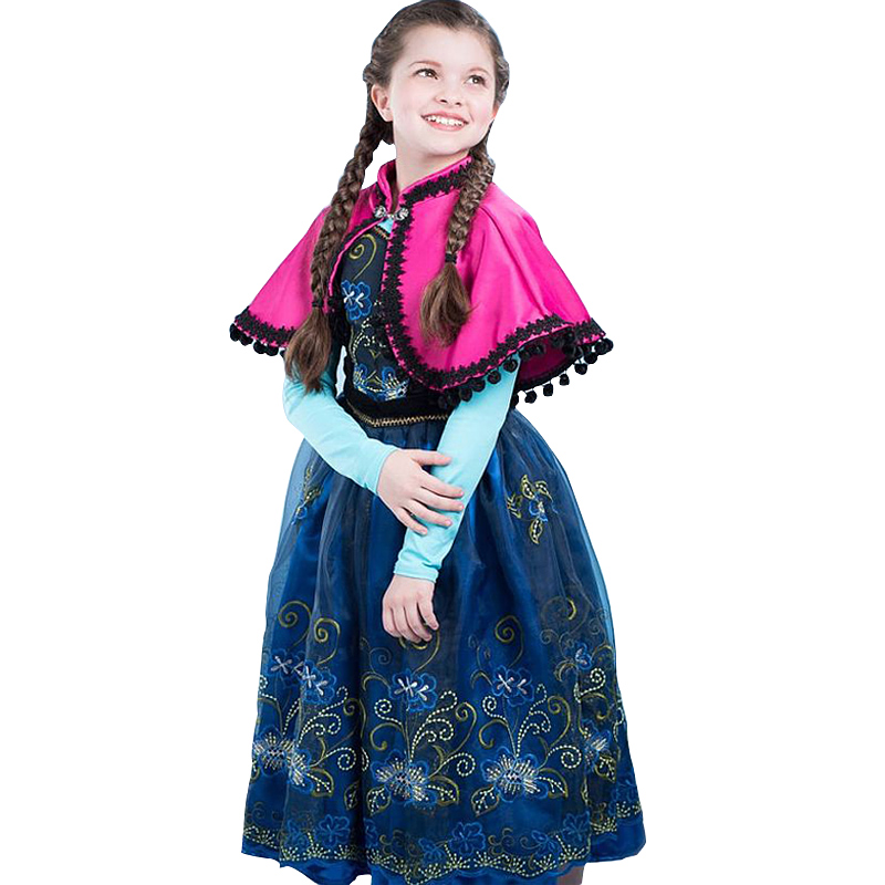 2018 Baby Girls Dress Cartoon Princess Anna Dresses Gorgeous Style Cosplay Halloween Costume Kids Clothing Children Clothes
