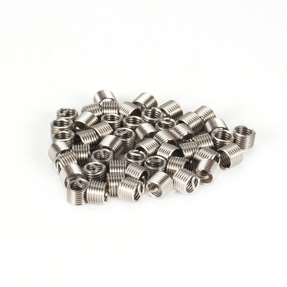 50PCS Threaded Inserts M6 1.0 1.5D Stainless Steel Wire Helicoil Fasteners Hardware Repair Tools Screw Sleeve Set