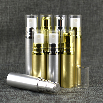 100pcs 5ml 10ml Empty Refillable Airless Lotion Pump serum Travel Bottle Tube Gold Silver clear lid cap F3051