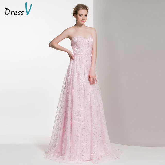 Dressv perle rosa lange A line brautjungfer kleid schatz faltet ...