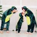 Bonito dos desenhos animados macacão Animal pijamas Crianças Unisex Dragão Verde Rosa Dinossauro Onesie Para Crianças One Piece Pijamas macacões