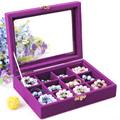 New 12 Grid Portable Jewelry Box Jewelry Display Organizer Storage Purple color Box Display Holder Case Jewelry Bead Storage