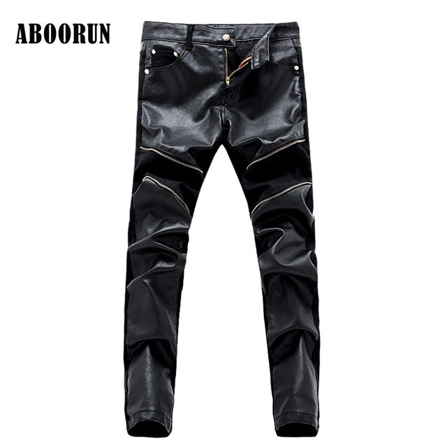ABOORUN 2017 Mens Korean Style Jeans High Quality PU Patchwork Black Slim fit Pencil Denim Pants with Zipper Men B053 men s cowboy jeans fashion blue jeans pant men plus sizes regular slim fit denim jean pants male high quality brand jeans