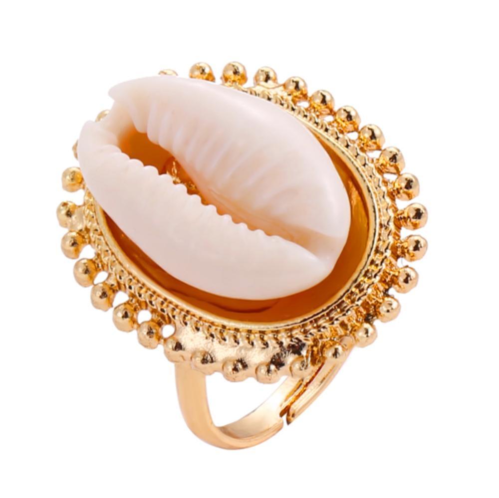 Shell-Rings Adjustable Silver-Colors Bohemian Vintage Fashion Women Golden Alloy Beach-Party