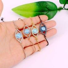 5Pcs Micro Pave Blue Stone Connector Beads Charm djustable chain Macrame bracelet for women