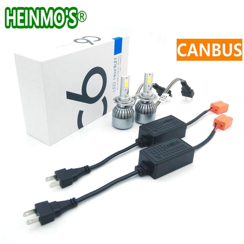72 Wát 7600LM H7 CANBUS LED Headlight Kit Tự Động Phía Trước xe đèn sương mù DẪN Ô Tô Đèn Pha H8/H9/H11 HB3 9005 HB4 9006 h1 h3