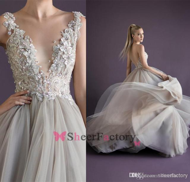 Simple Design Scoop Neck Long Sleeve Long A Line Tulle: Champagne Princess Sexy Deep V Neck Paolo Sebastian Prom