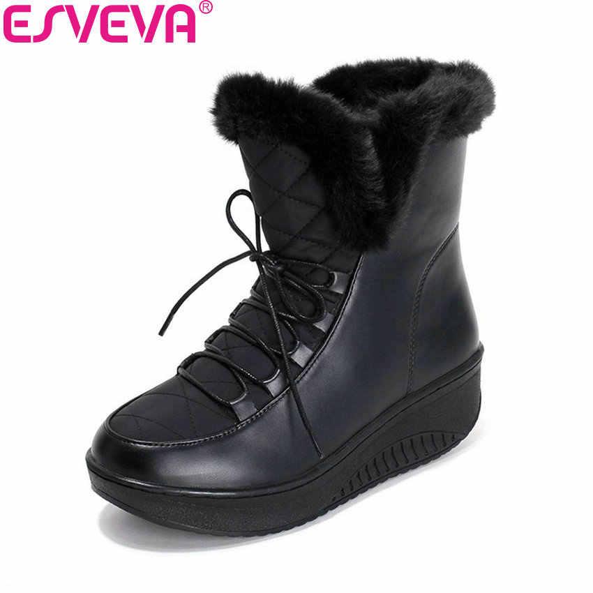 ESVEVA 2020 Kadın Botları Rahat Kış sıcak Kürk Lace Up Kar Botları Takozlar Topuk Platformu yarım çizmeler Siyah Peluş Moda Botları