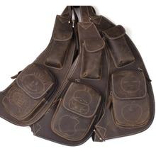 2017 Handmade genuine leather Men's Sling Day Pack Messenger Cross body bag Cowhide Genuine Leather Chest bag unique design 3011