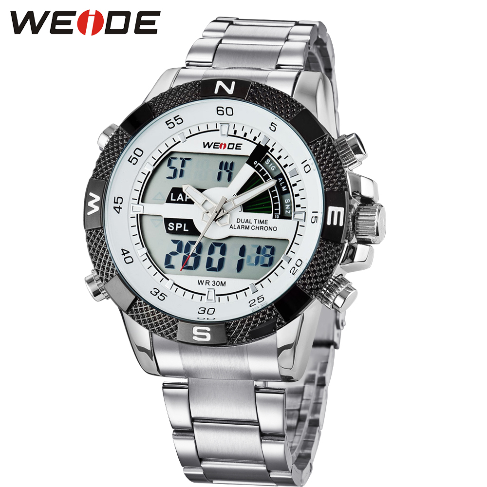Original Fashion WEIDE Army Sport Watch Men Digital Quartz LED Alarm Steel Band Dual Time 30m Waterproof Man Wristwatch Relogios weide popular brand new fashion digital led watch men waterproof sport watches man white dial stainless steel relogio masculino