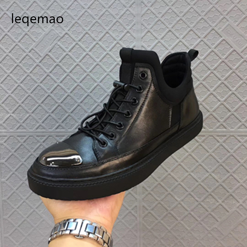 New Arrival Spring Autumn Fashion Flats Black Men Casual Shoes Oxford Genuine Leather High Quality Lace-up Comfortable Shoes men suede genuine leather boots men vintage ankle boot shoes lace up casual spring autumn mens shoes 2017 new fashion
