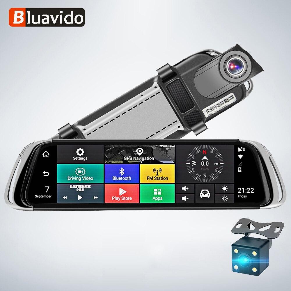 Bluavido 4G Espelho Retrovisor Do Carro Gravador De Vídeo Traço DVR ADAS de Navegação GPS Android FHD 1080 P Wi-fi auto secretário câmera dupla