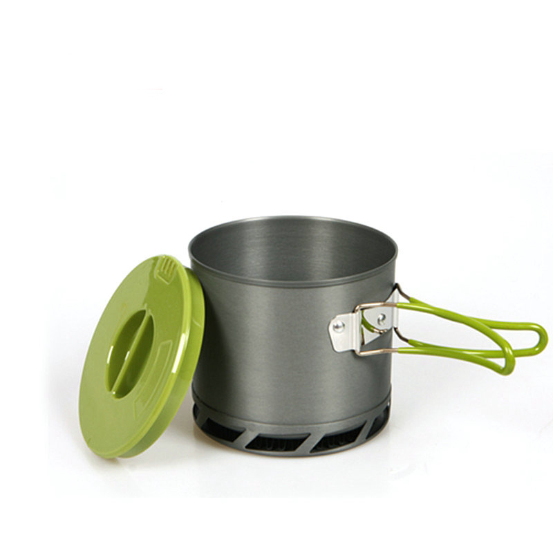 DSstyles 1.2L Outdoor Tableware Portable Heat Collecting Exchanger Camping Pot Anodized Aluminum Camping Cookware 1-2 People