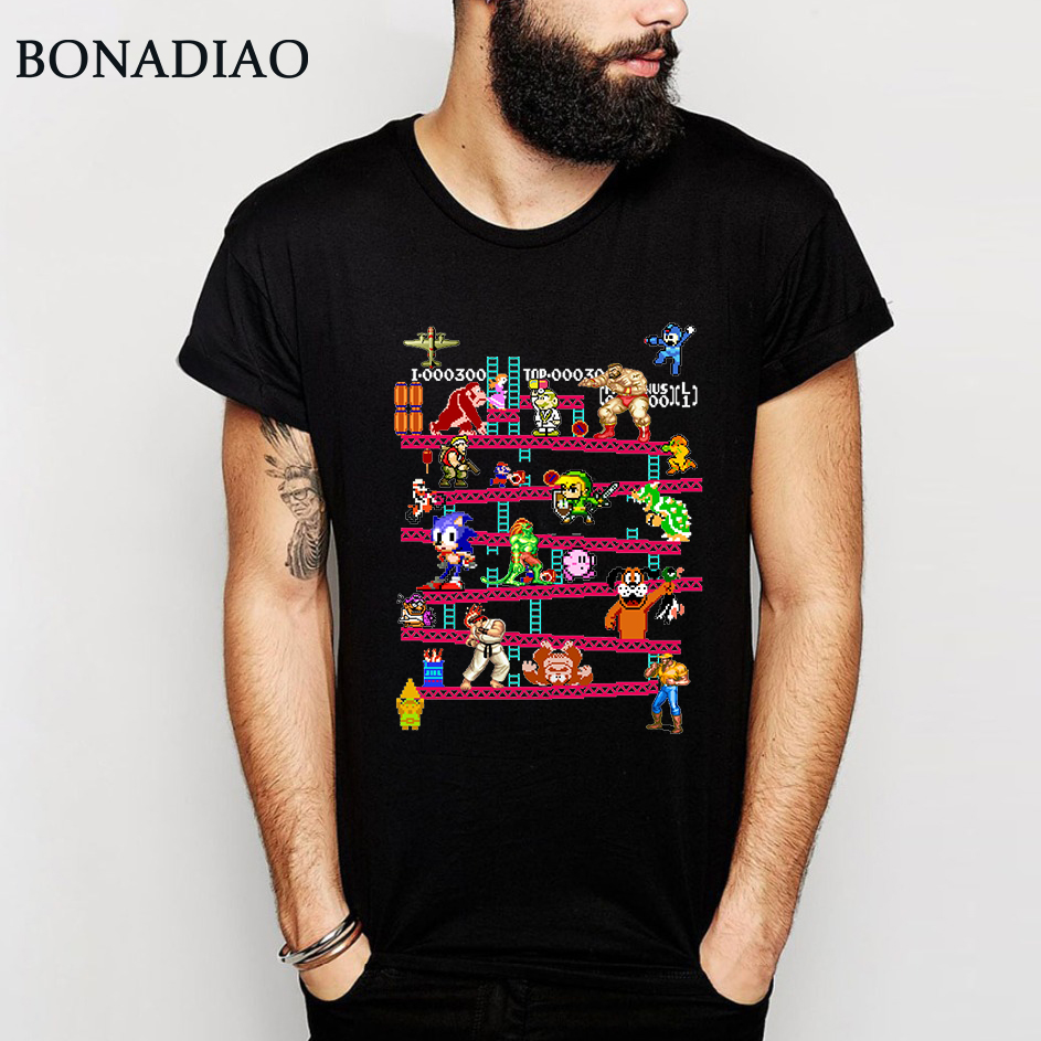 Arcade Game Donkey Kong Collage T Shirt FC Console Game Vintage Style Tee Shirt 100% Cotton Plus Size LA Camiseta