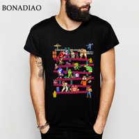 Arcade Gioco Donkey Kong Collage T Shirt FC Console di Gioco di Stile Dell'annata Tee Shirt In Cotone 100% Più Il Formato LA Camiseta