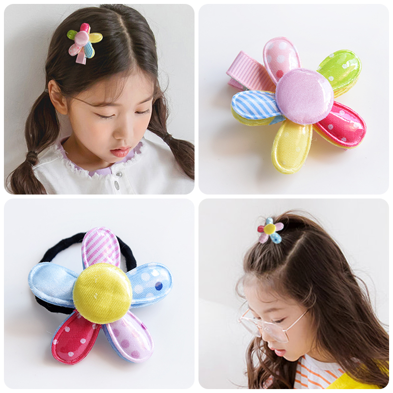 Colorful Sunflower Cute Hair Accessories Handmade Elastic Bands Hairpins Girl Princess Baby Ties Rubber Band Clip