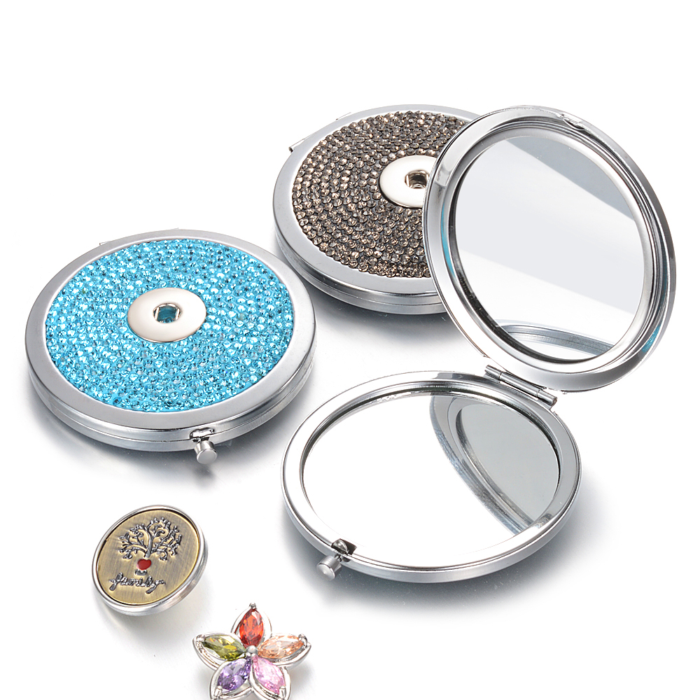 Vocheng 18mm Snap Button Jewelry Double-sided Mirror Women Foldable Makeup Mirrors Lady Cosmetic Hand Folding Gift NN-731