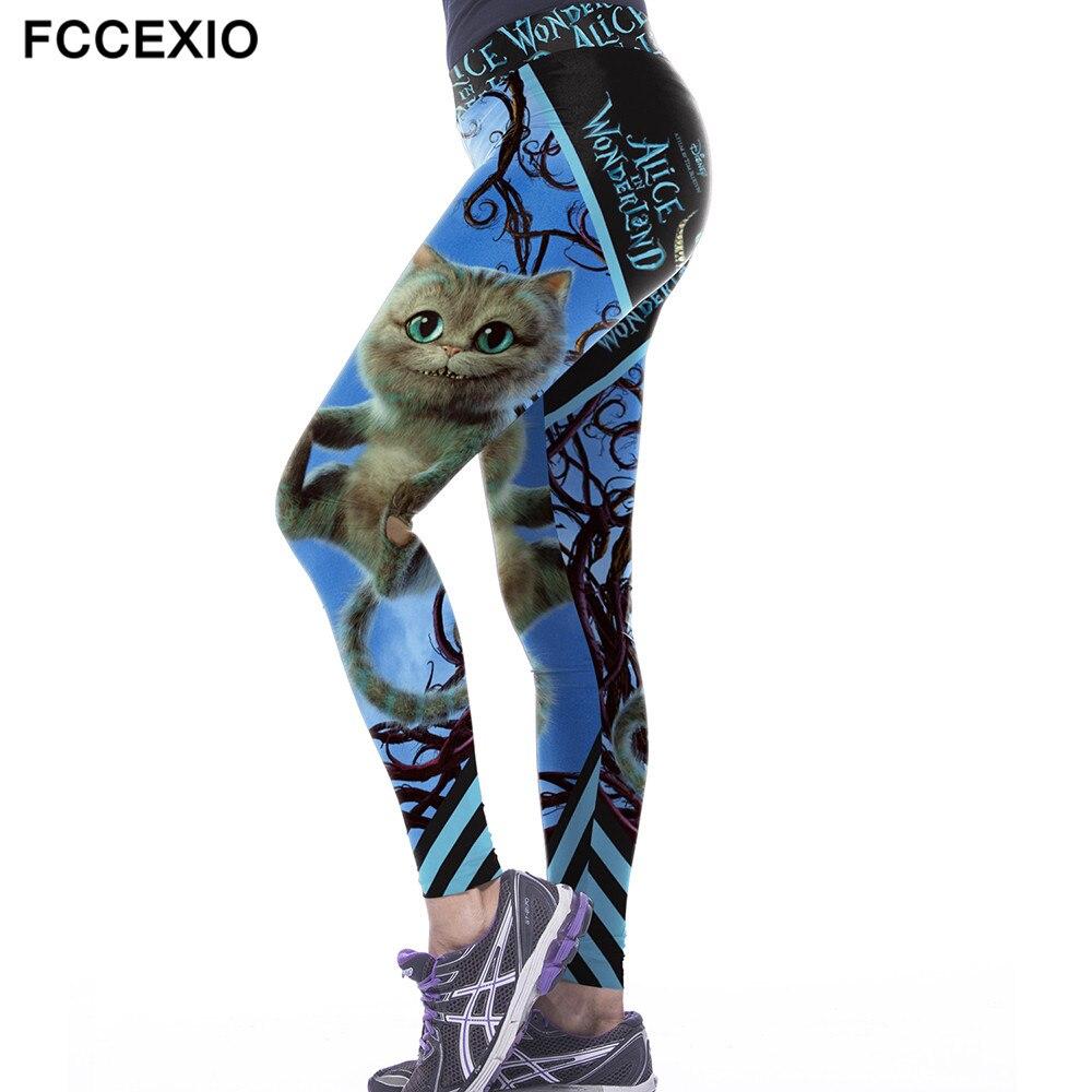 Alice In Wonderland Women's   Leggings   The Cheshire Cat 3d Print Blue Legins High Elastic Waist Band Push Up Slim Fitness   Leggings