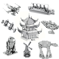 8Pcs/Set Fun 3D Metal Puzzle R2D2 Millennium X-wing Star Wars metal Puzzle Educational Model Children's Toys
