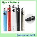 10 unids USB de paso a través Ugo USB de la batería de paso a través vaporizador UGO-V 650 - 1100 mah Evod-vv mt3 batería ce4 e cigarette atomizador