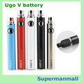 10pcs USB  pass through Ugo V battery USB pass through vaporizer UGO-V 650-1100mah Evod-vv battery mt3 ce4 e cigarette atomizer