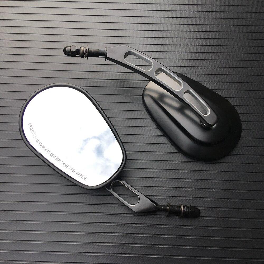 Pair Black Edge Cut Rear View Side Mirrors Black Left Right SideTapered For Harley Street Bob