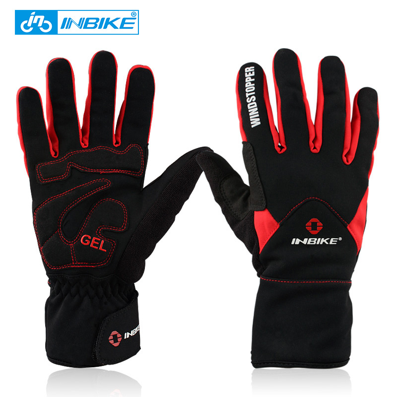 INBIKE Winter <font><b>Cycling</b></font> Gloves <font><b>Full</b></font> Finger Thermal Bike Bicycle Gloves Windproof Mittens 2 Colors Outdoor Ski & Climbing IF966