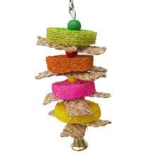 Красочные деревянные попугай птица ПЭТ царапины Висячие качели подъем натуральный коврик шелухи жевание укус царапины птица игрушки принадлежности