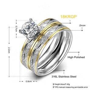 Image 5 - Anillos de boda para pareja, juego de anillos de circonia cúbica para mujer, anillo de titanio para hombre y mujer, accesorios 2019