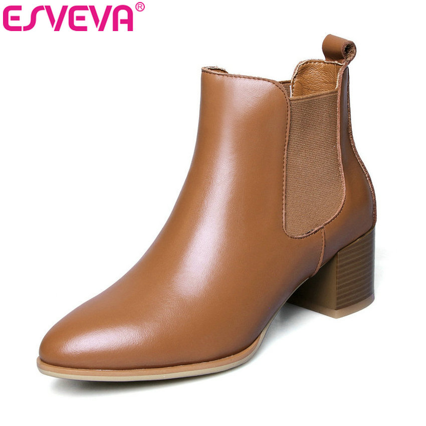 ESVEVA 2019 Women Chelsea Boots Slip on Real Leather PU Winter Shoes Ankle Boots Square High Heels Woman Shoes Pointed Toe 34-42 enmayla autumn winter chelsea ankle boots for women faux suede square toe high heels shoes woman chunky heels boots khaki black