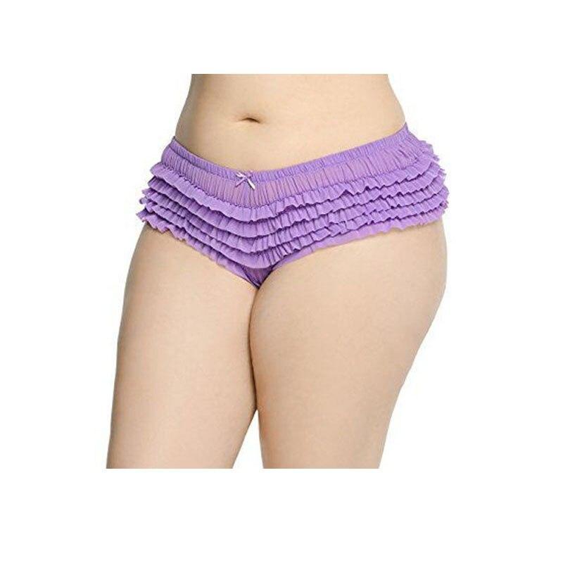 2017 Hot Sell Womens Underwear Black Spandex Net Cloth Ruffles Big Size L/XL/2XK3XKL4XL/5XL Size Panties NO.62-2050