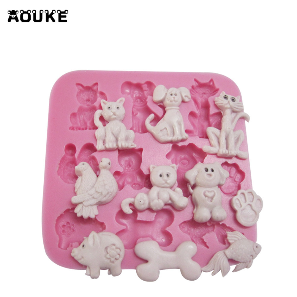 Cartoon Animals Cats&Dogs&Bone Shape Fondant Cake Silicone Mold Pastry Chocolate Mould Candy Ice Cube Molds DIY Baking Tools image