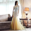 Yellow Mermaid Evening Dresses Long Party Dress Luxury Beading Formal Dresses Vestidos De Festa Long Moroccan Kaftan elie Saab