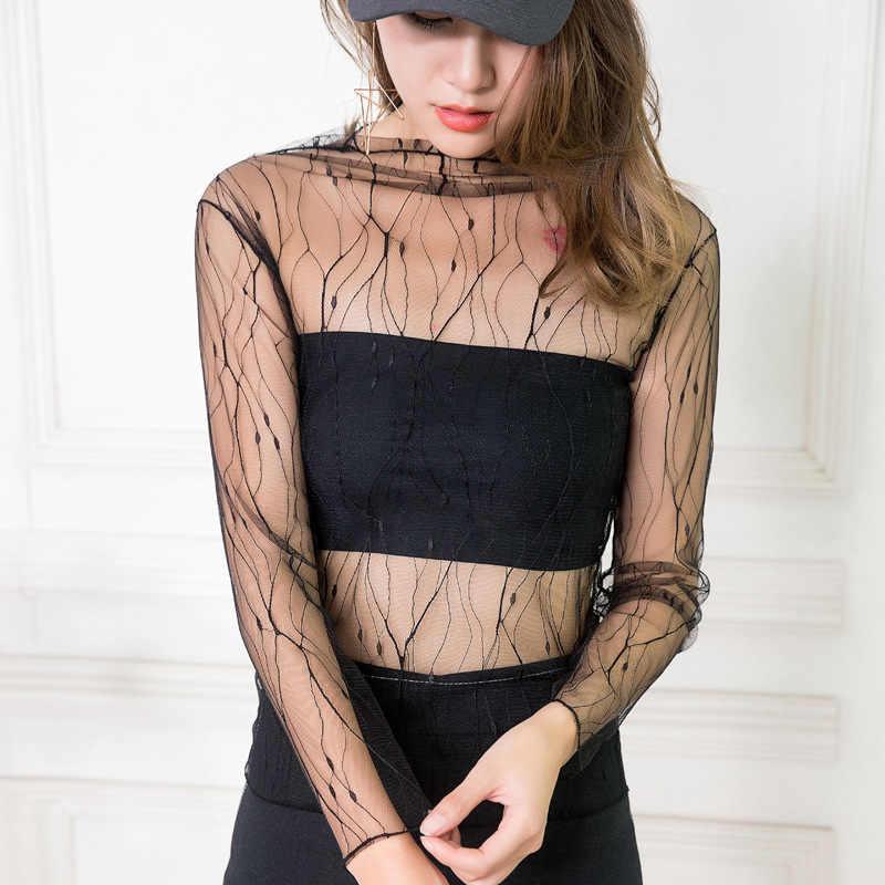 Sexy Women T Shirt See Through Transparent Mesh Tops Long Sleeve Sheer Slim Ladies Turtleneck T-Shirt ds051