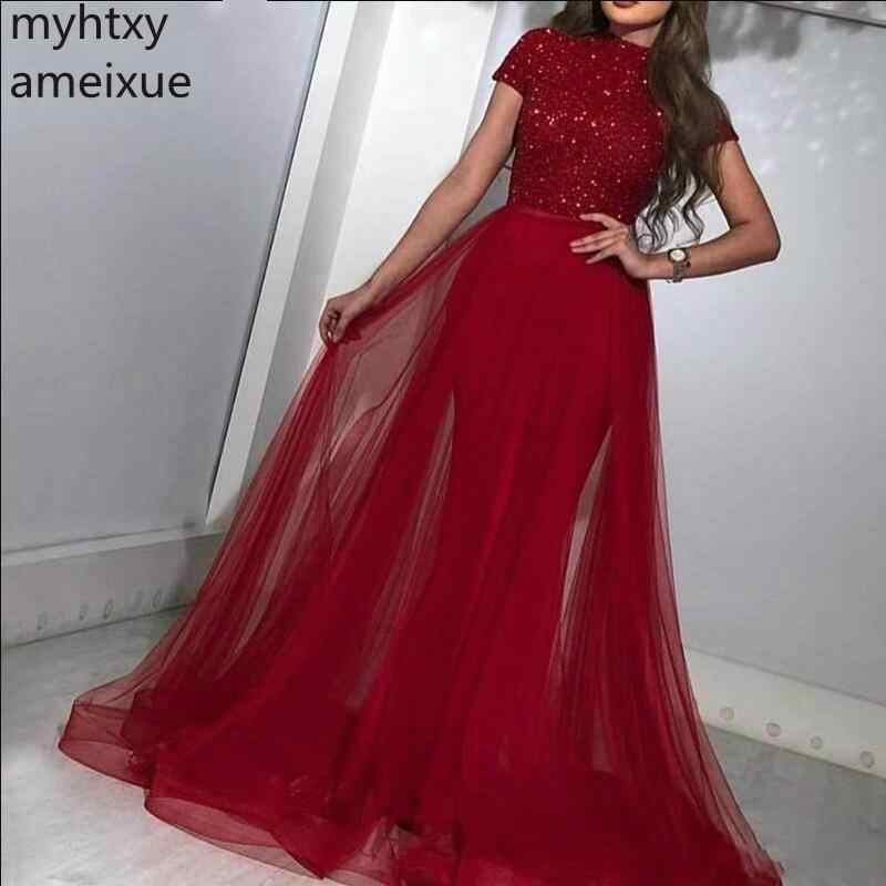 Christmas Sweeps 2020 2020 New Arrival Red Evening Dresses Christmas V neck Sweep Train