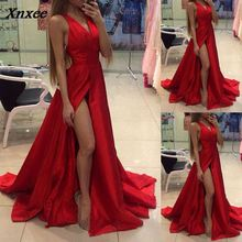 Fashion Women Party Dress Elegant Sleeveless Solid Deep V Neck High Split Slim Gown Dresses Female Costume S M L XL Xnxee