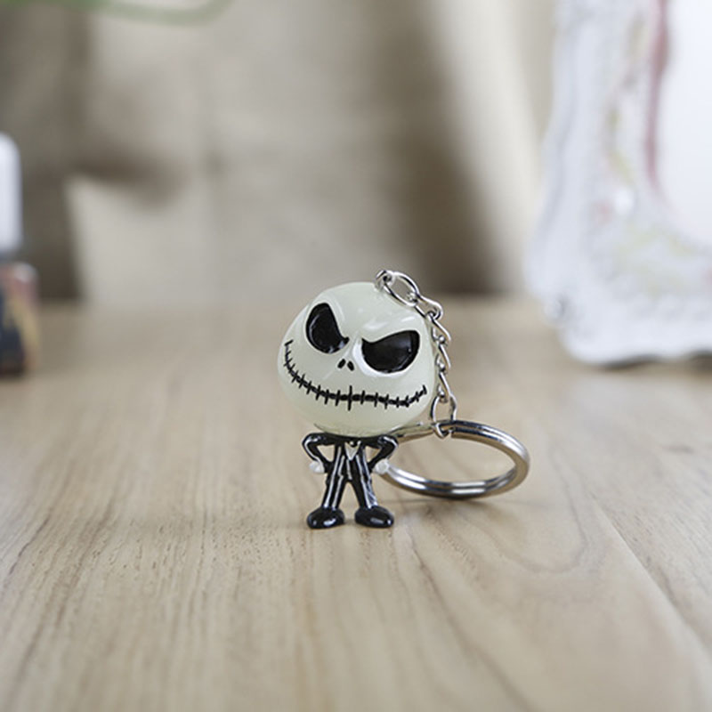 W5375 3D The Nightmare Before Christmas Jack Skellington Keychain Key Ring Hanger The head glowed in the dark the spook s nightmare