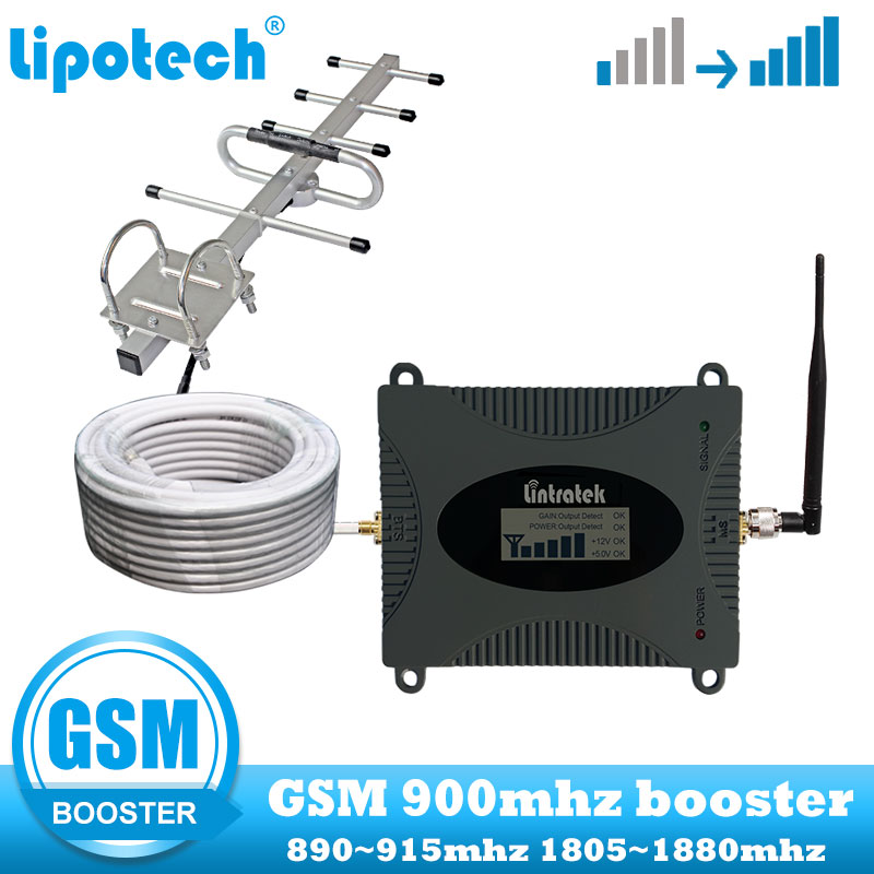 lintratek Mobile Cell Phone Signal Booster 2G GSM 900MHz cellular Repeater communication amplifier with Yagi and
