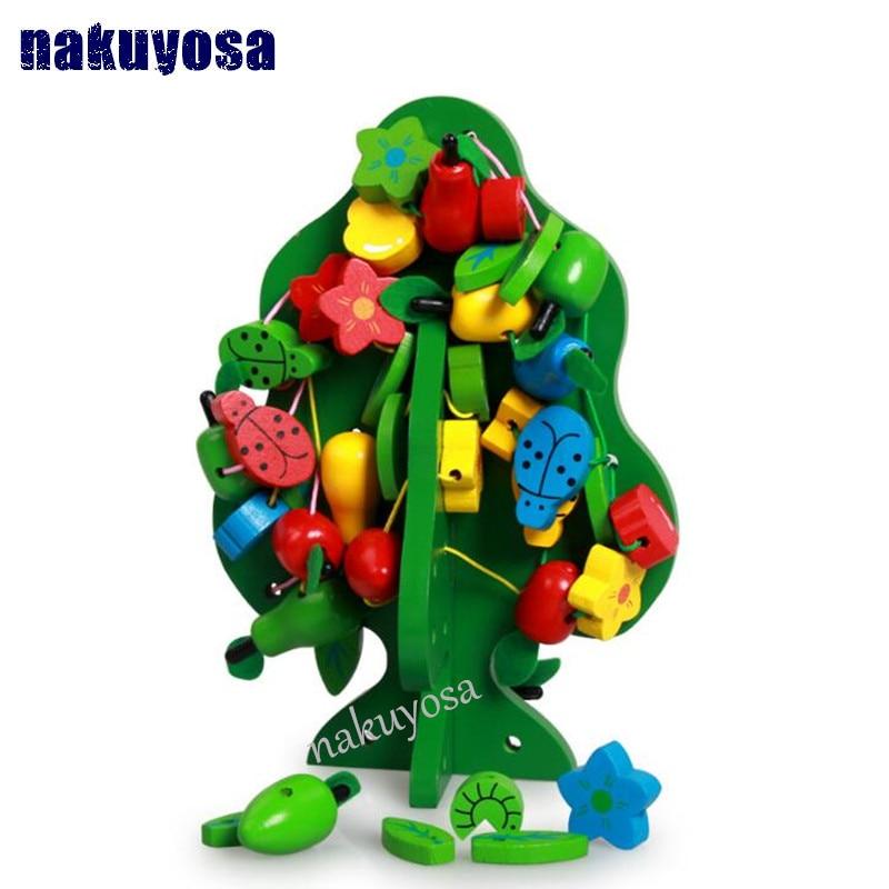 Монтессори детские дети Игрушечные лошадки деревянный красочные фрукты Бусины строки Ёлк ...