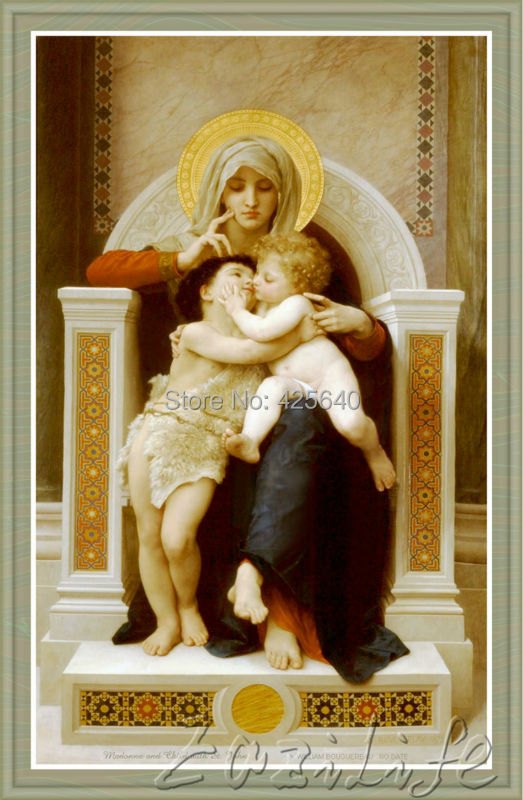 home decor jesus christ madonna and child with st john art decor painting print giclee