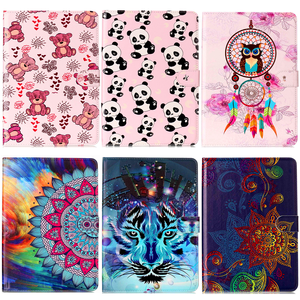 New SM-T560 SM-T561 Case Panda Painting Tablet Book Cover Stand Leather Cases For Samsung Galaxy Tab E T560 T561 9.6 inch