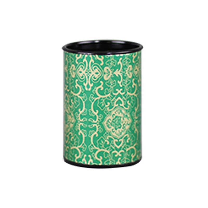 شين جيا يي التعبئة والتغليف علب صفيح الشاي الصغيرة الأحمر الأخضر جولة ورقة تخزين مخصصة ورقة التسمية شعار حالات