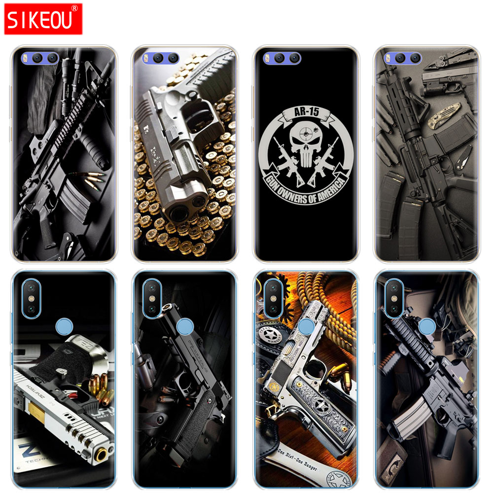 Silicone Cover Case For Xiaomi Mi 8 8se A1 A2 Lite 5 5s 5x 6 Mi5 Mi6 Note 3 Max Mix 2 2s Weapons Rifle Guns Sniper Pistol Bullet Phone Bags & Cases Cellphones & Telecommunications