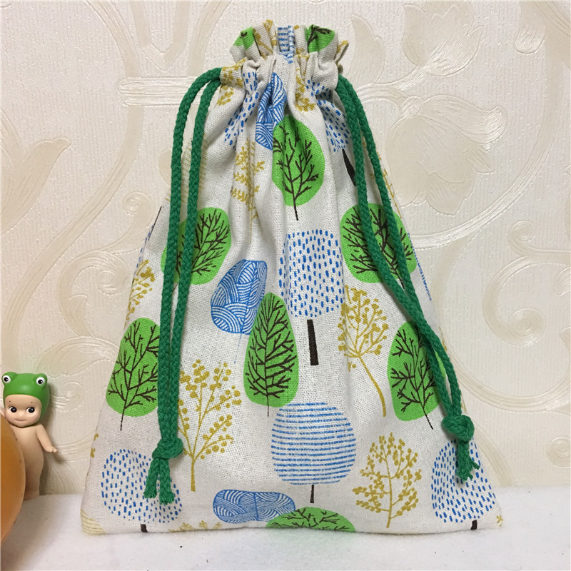 YILE Handmade Cotton Linen Drawstring Multi-purpose Organizer Gift Bag Green Blue Khski 8123G