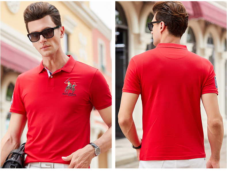 Fashion Summer Short Sleeve Solid Polo Shirt Men Cotton Print Slim Casual Polos Breathable Embroidery  Shirt Mens ClothingYP9099 12
