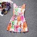 2016 Autumn Girls dress for little girls animal dog cat  floral printed sleeveless casual dress kids dress vestido infantil
